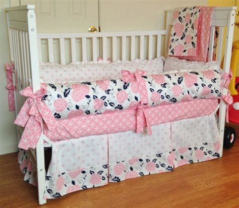 Crib Bedding Baby Girl Bedding Set Navy Pink White How To Make A Crib Bedding Set
