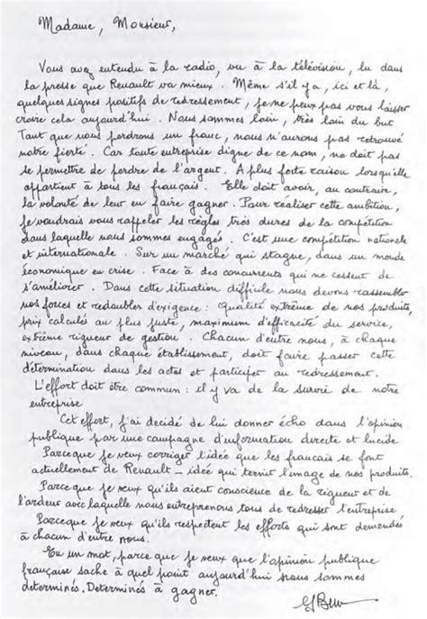Presentation De Lettre Manuscrite Le Management Selon Georges Besse
