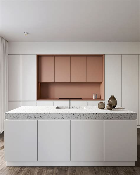 eclectic kitchen cabinets eclectic kitchen with pink cabinets and terrazzo