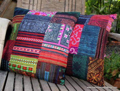 Patchwork Cover - patchwork pillow cushion cover in colorful vintage hmong