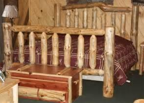 amish pine log furniture high bed