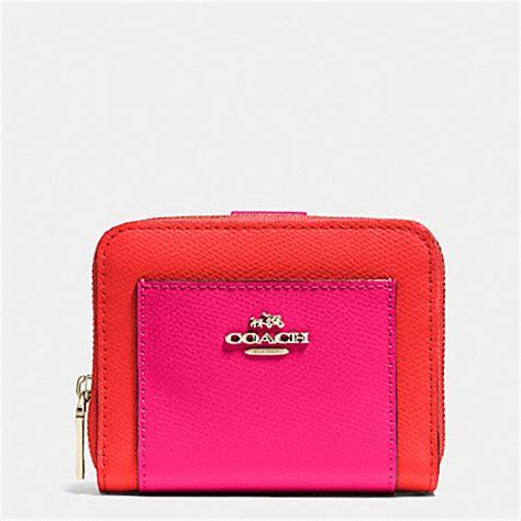 light pink coach wallet coach f52846 medium zip around wallet in bicolor