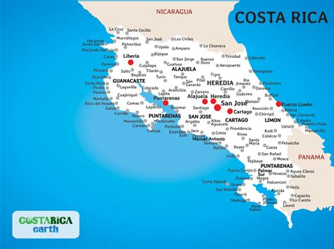 costa rica map with cities map of costa rica cities clubmotorseattle
