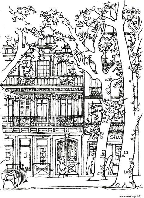 coloriage architecture arbre dessin