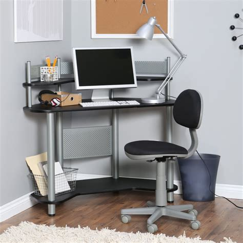 Furniture White Wooden Small Desk With Shelves And Wooden Corner Desk And Chair
