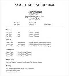 Exle Of Actor Resume by Acting Resume Template 19 In Pdf Word Psd