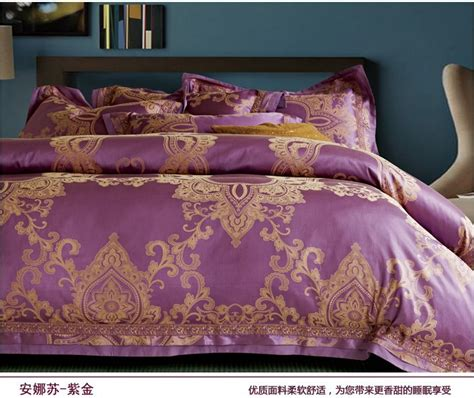 Gold Duvet Cover King Luxury Wedding Purple Gold Satin Jacquard Bedding Set King