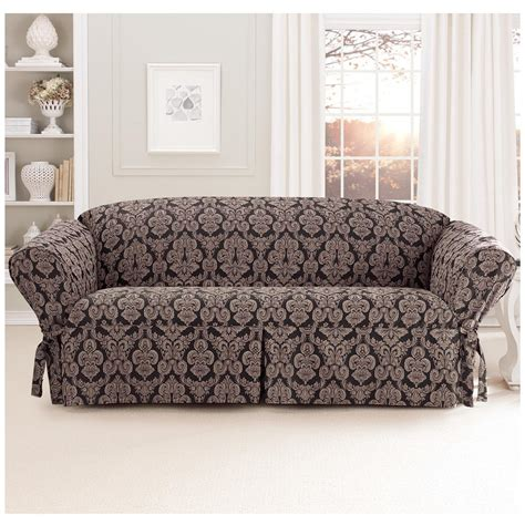 how to put on a sure fit sofa cover sure fit 174 middleton sofa slipcover 581237 furniture