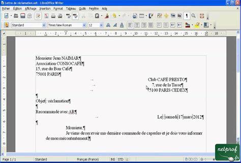 Présentation Lettre De Motivation Mise En Page Libroffice Writer 233 Crire Une Lettre 05 Taper Et Mettre En Page Du Texte