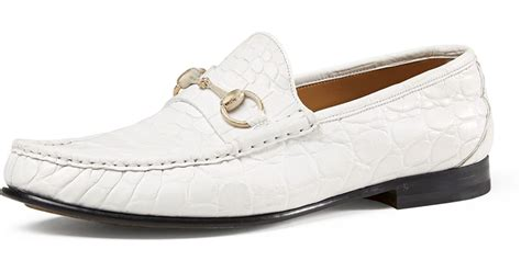 gucci loafers white gucci s crocodile horsebit loafer in white for lyst