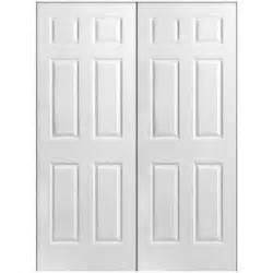 Home Depot Interior Double Doors Masonite Textured 6 Panel Hollow Core Primed Composite