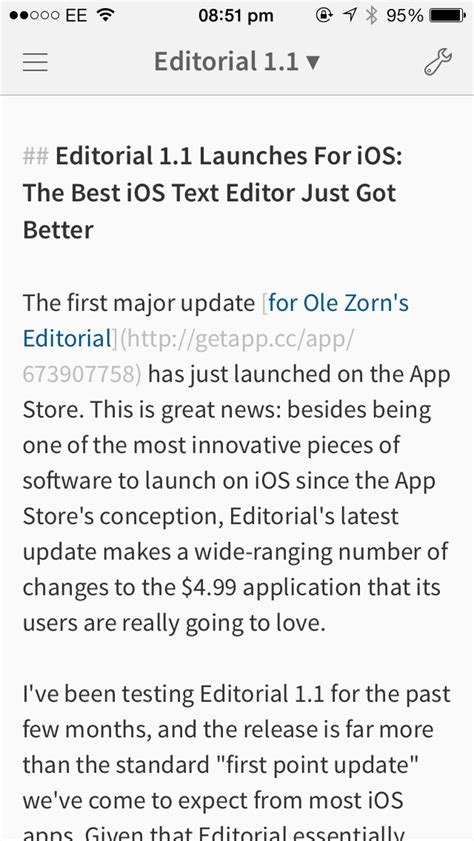 Editorial App Updated To 1.1: The Best iOS Text Editor