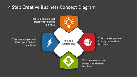 Key Concepts Home Design 4 Step Business Concept Diagram For Powerpoint Dark