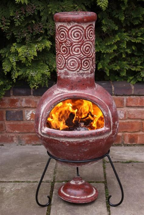 chiminea outdoor fireplace clay mexican clay chimenea esprial chiminea patio heater