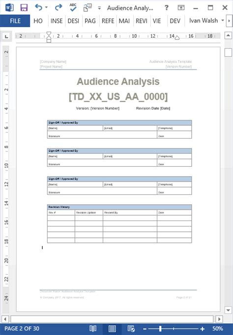 audience analysis template 30 pg ms word excel spreadsheet