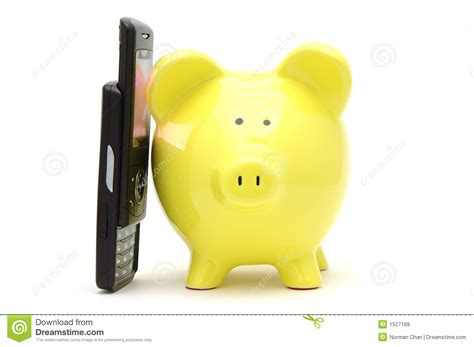 talking piggy bank piggy bank on phone royalty free stock images image 1527169