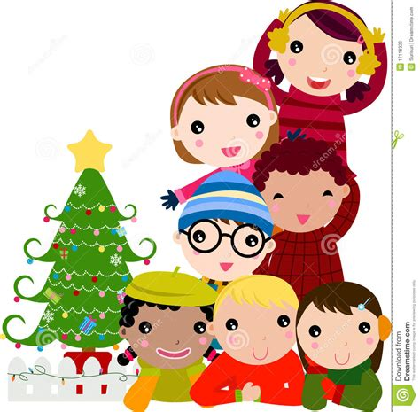 group of children and christmas tree stock vector image