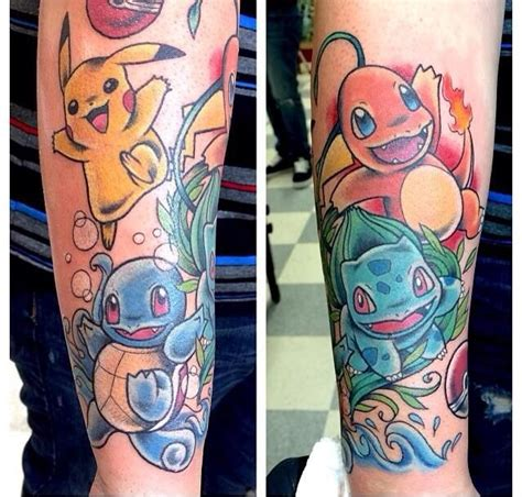 pokemon tattoo sleeve sleeve original starters pikachu