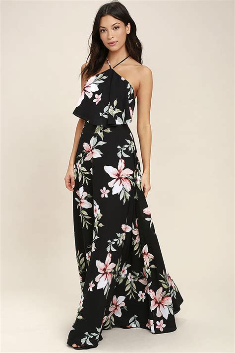 Baju Dress Maxi Flower Black lovely black dress floral print dress maxi dress 79 00