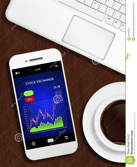 mobile stock charts mobile phone with stock chart mug of coffee and laptop