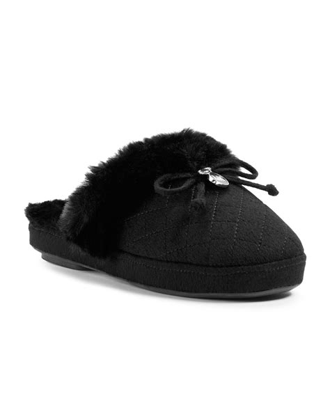 michael kors slippers lyst michael kors michael plush slipper in black