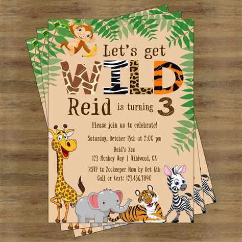zoo themed birthday invitations safari birthday invitation jungle birthday invitation