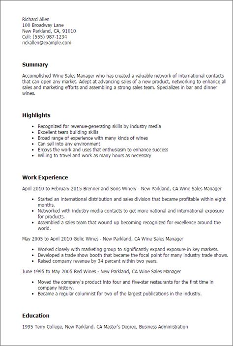 Cover Letter Sles For Trades by Wine Sales Manager Resume Template Best Design Tips