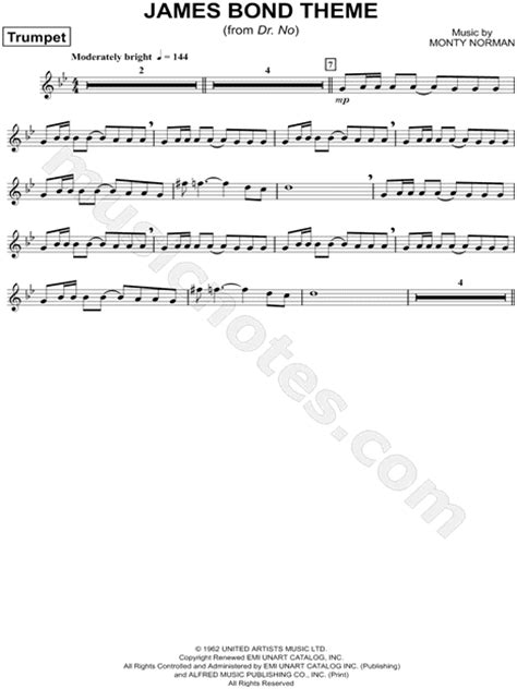 theme music james bond monty norman quot the james bond theme quot sheet music trumpet
