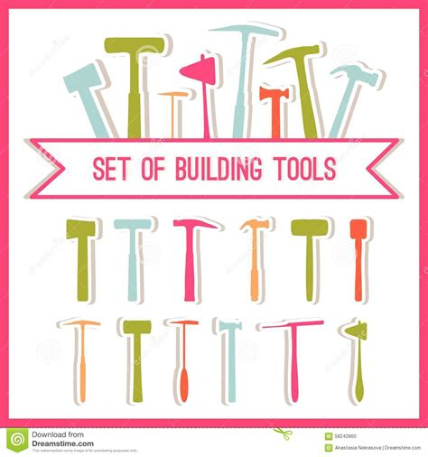 building design tool set of building tools buildings tools icons set flat