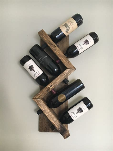 Primitive Home Decor by Zig Zag Wine Rack Z Geometric Rustic Wood Wine Bottle Display