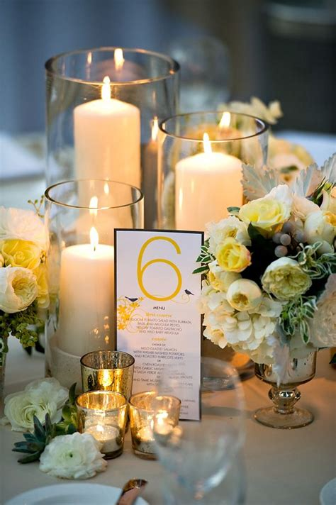 Pillar Candle Mercury Glass Centerpiece Candle And Flower Centerpieces