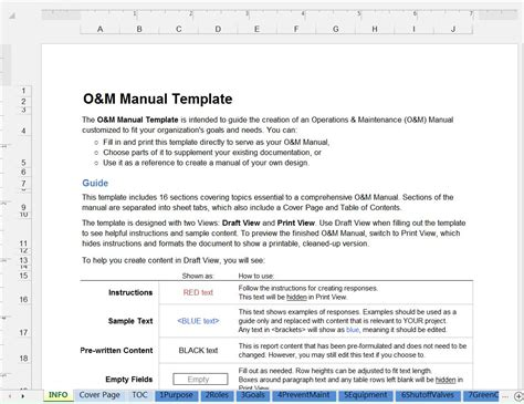green operations and maintenance manual template