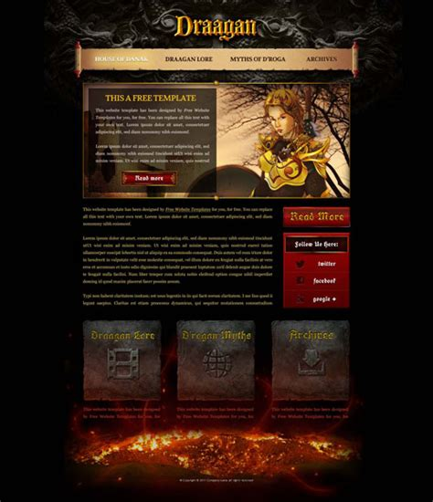 design html games fantasy game web template with original illustrations