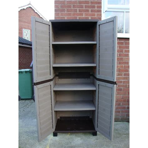 outdoor storage cabinets with shelves starplast outdoor plastic utility cabinet with 4 shelves