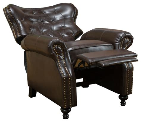 reclining leather club chair gdfstudio waldo brown leather recliner club chair