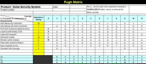 excel matrix template another pugh matrix template for microsoft excel