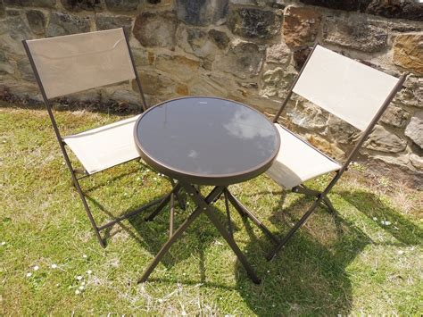 patio and 2 chairs beige and brown 3 piece garden furniture patio