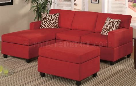 small red sectional sofa f7668 small sectional sofa in red microfiber by poundex