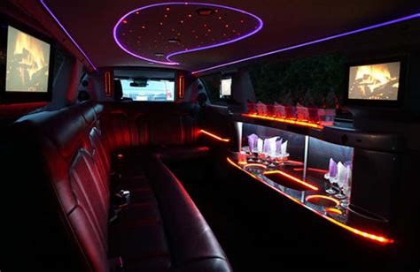 inside a limo stretch limousine 10 passengers traditional white