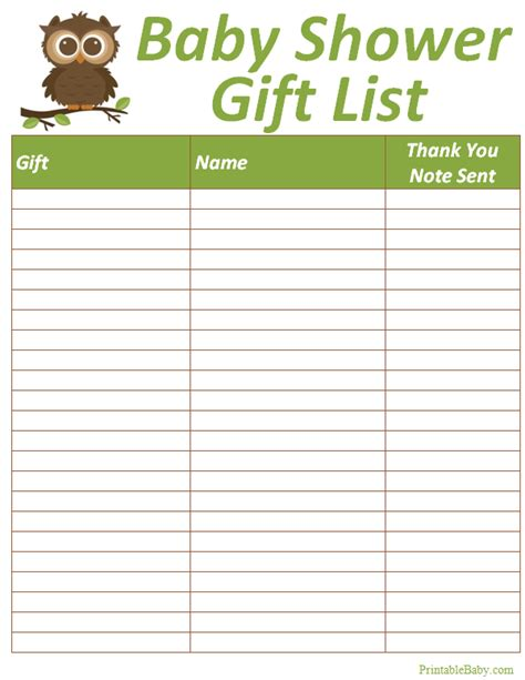 baby shower list of gifts template printable baby shower gift list tracker sheet