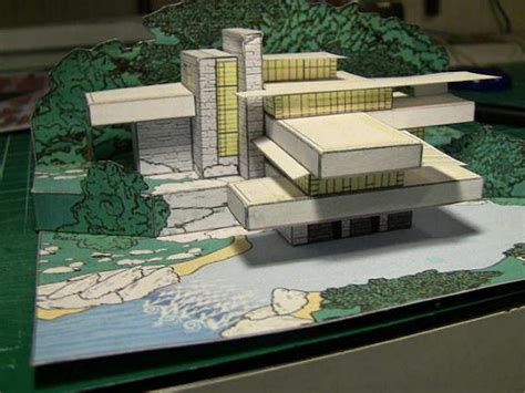 toy boat over waterfall papermau frank lloyd s fallingwater house paper model