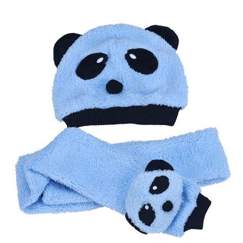 Topi Bayi Okiyo Accesoris newborn baby photography props baby boys cotton velvet two pieces panda hat scarves baby