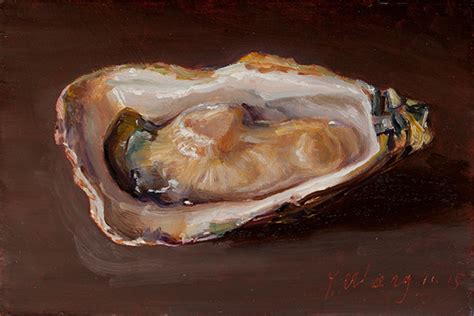 Sale Syomai Seafood Wei Wang wang oyster painting original small work of seafood painting a day