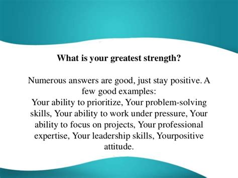 what is my what is your greatest strength question answer
