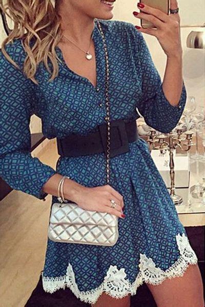 Longhem Trio Blue lace hem dresses blue sleeve dress and sleeve on