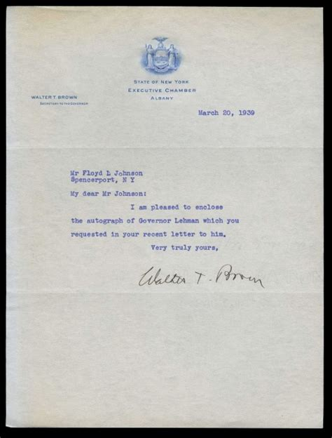 Letterhead Of A Chamber 1939 Signed Business Document Letterhead State Of New York