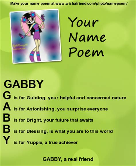 brain s name poem by iiriver of blood on deviantart gabby name poem by babybunnybun on deviantart