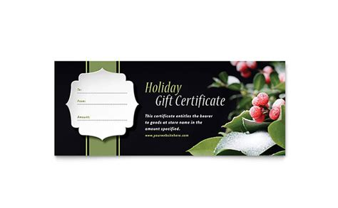 publisher templates for gift certificates holly leaves gift certificate template word publisher