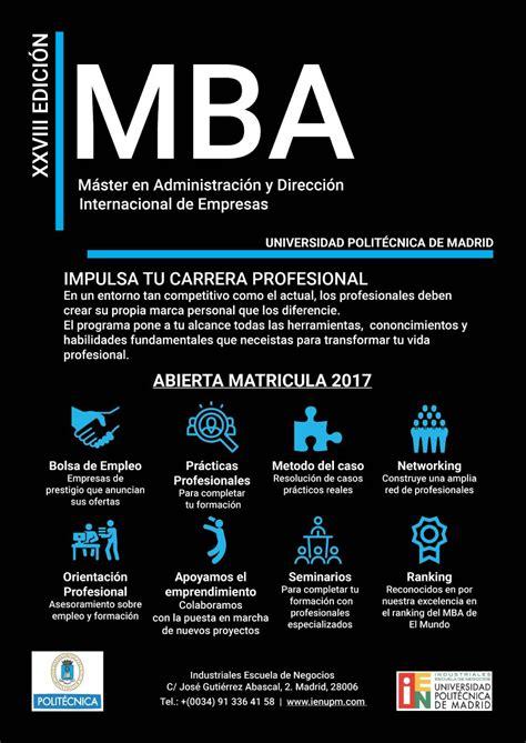 Mba Internacional by Upm Mba Para Ingenieros Mba Internacional