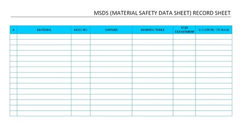 Msds Excel Spreadsheet Template